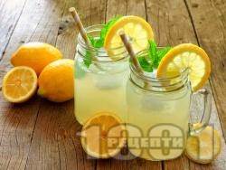 Ябълкова лимонада с ванилов сироп, лимонов сок и газирана вода - снимка на рецептата